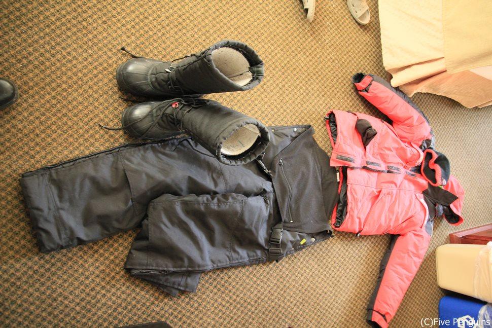 冬のオーロラ鑑賞には必須の貸出し用防寒着(イメージ)
