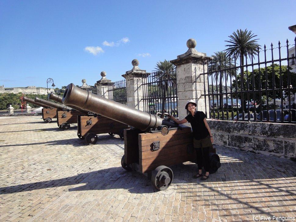 大砲は隣に立ってみるとこんなに大きい!