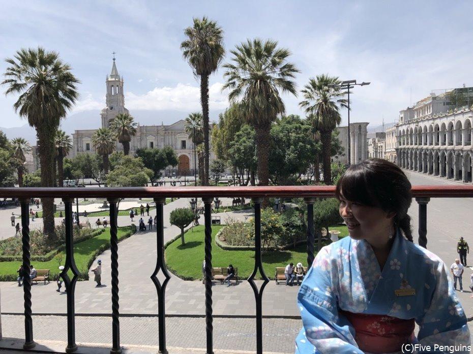 ペルーで浴衣!きつく締めた帯は高地だとさらに苦しい