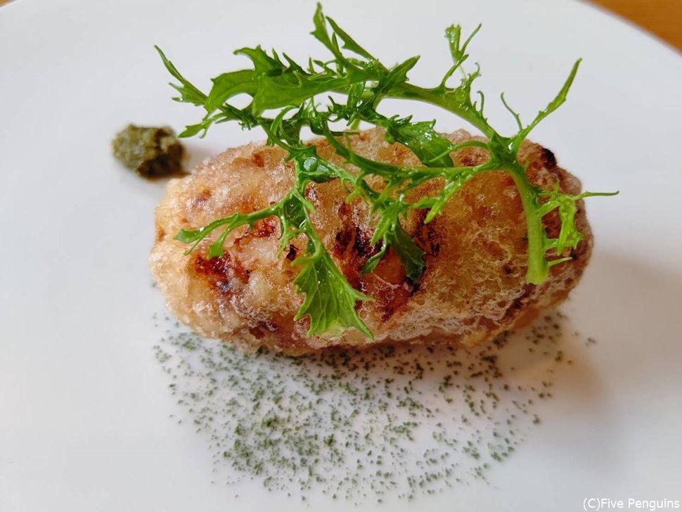 真鯛と春キャベツと車海老のコロッケ