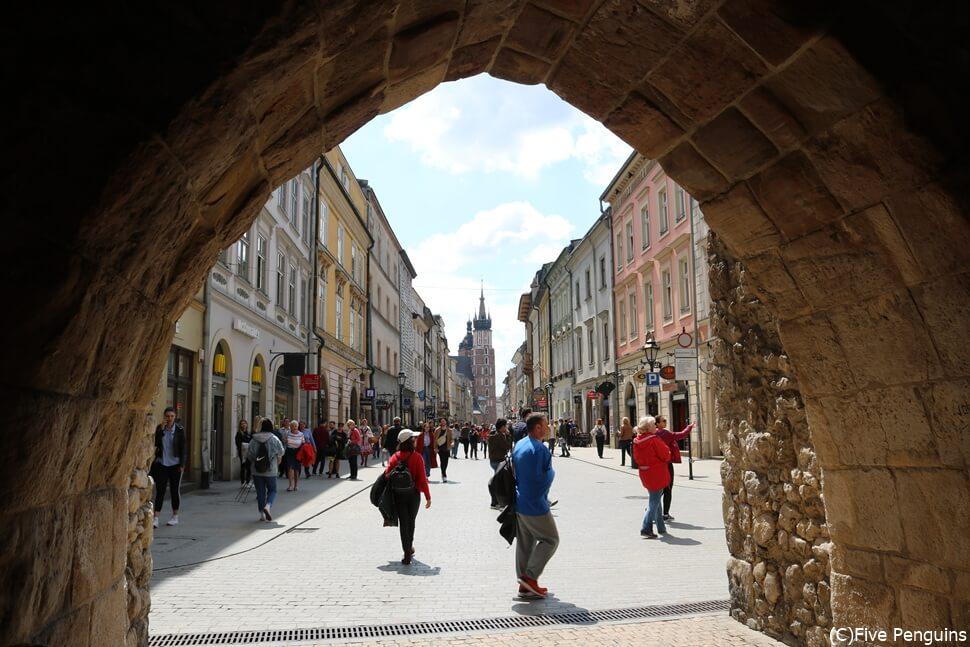 ポーランド クラクフのフロリアンスカ門