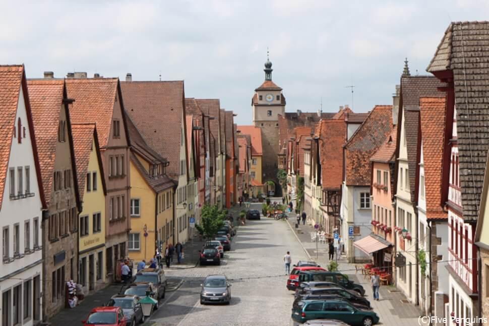 城壁から見たローテンブルグの街並み。
