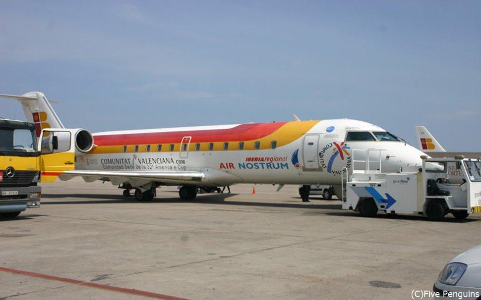 スペインまでの直行便を運航するイベリア航空の機体。