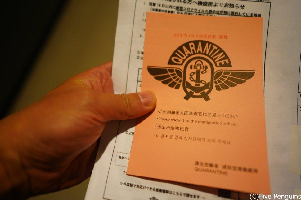 成田空港帰国時 ピンクの紙が陰性証明書