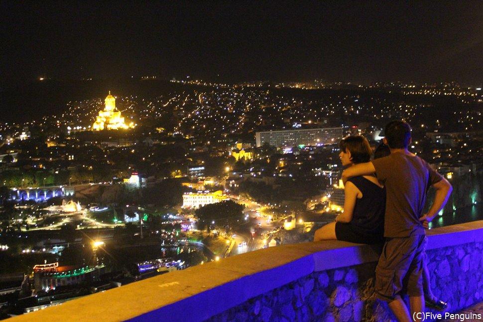 ナリカラ要塞からみた夜景<トビリシ>