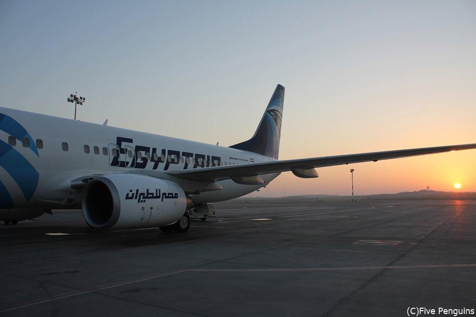 エジプト航空なら最短で移動が可能です。