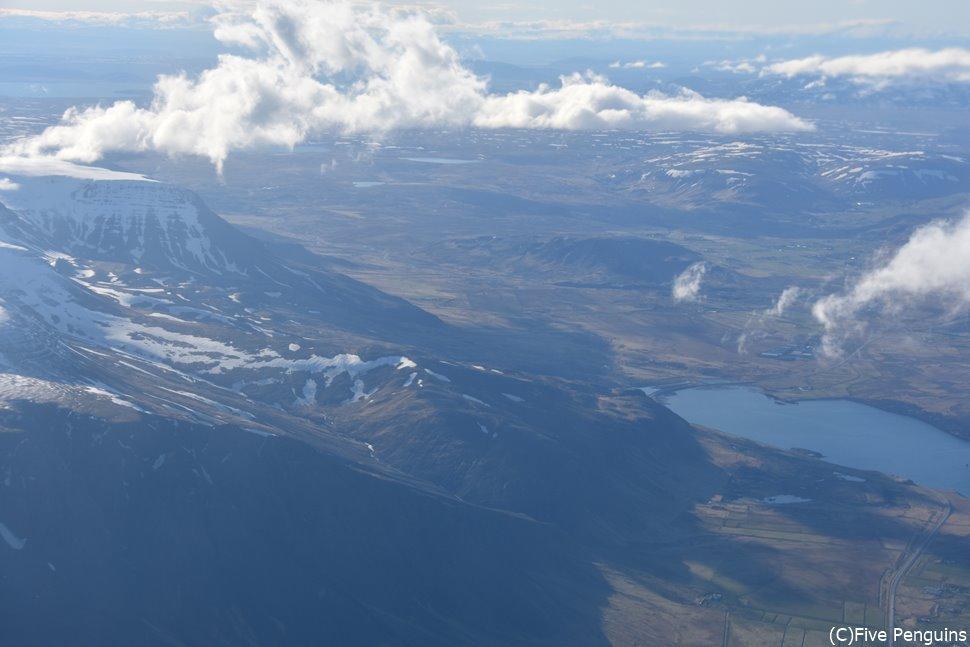 レイキャビック→アークレイリ 上空からの景色