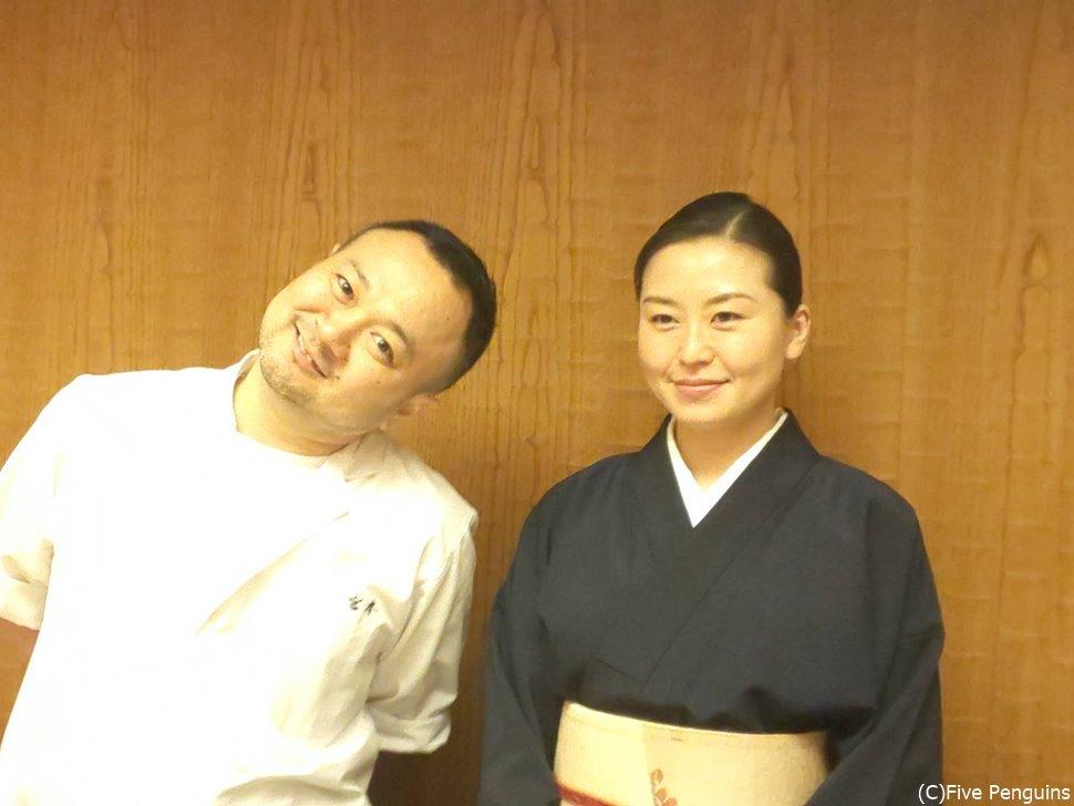 若き名料理人、宮本大介氏と美人女将。この写真のごとく、とにかく楽しいお人柄!!