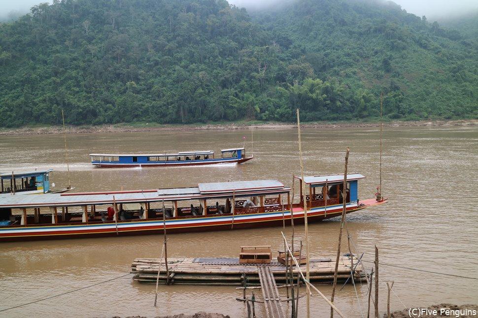 一見汚そうなメコン川ですが土が混ざっているだけで水自体は綺麗なんだとか。