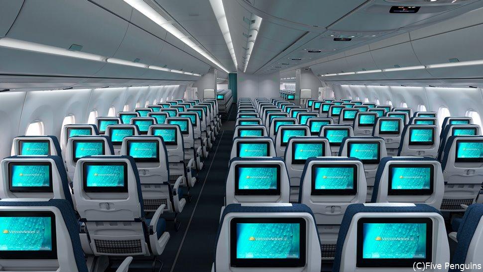 ベトナム航空のエコノミークラス。短いフライトなのであっという間に到着。