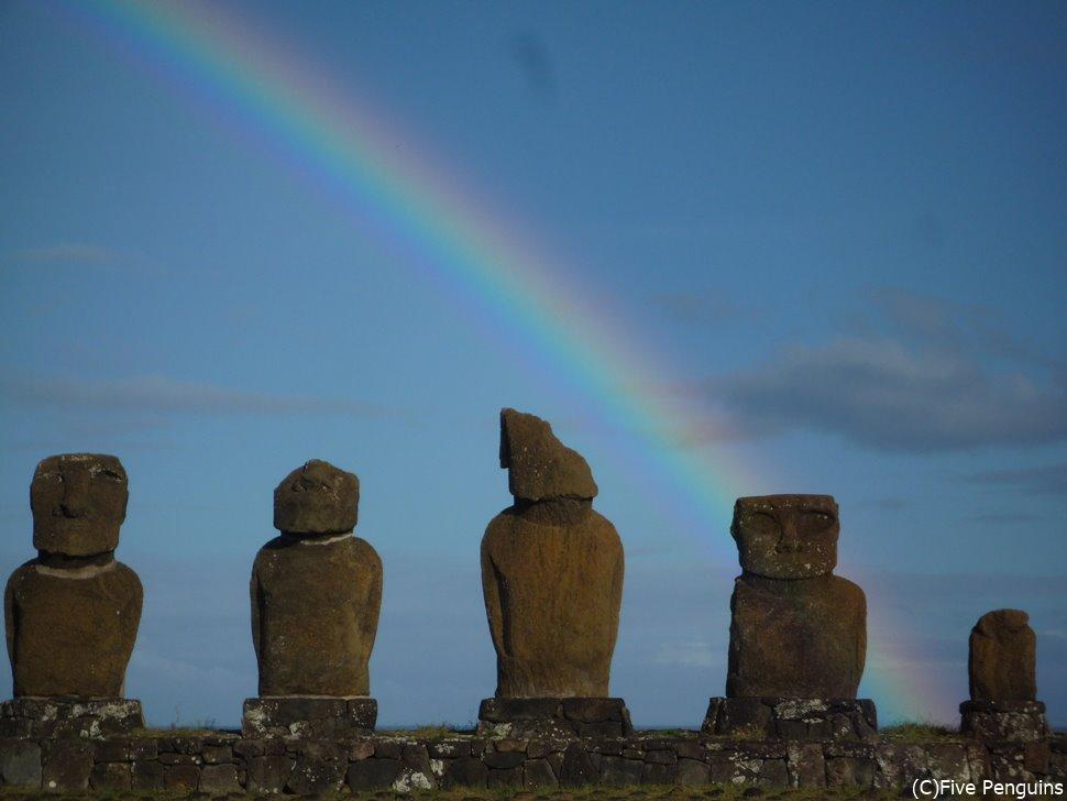 不揃いな5体のアフ・バイウリに映える虹