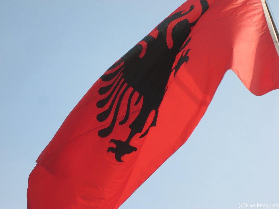 アルバニアの国旗には2つの頭を持つ鷲の勇ましい絵が描かれている