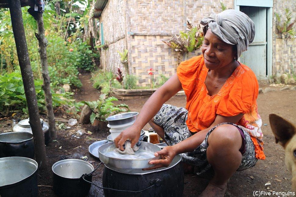 お皿を洗うホームステイ先のお母さん