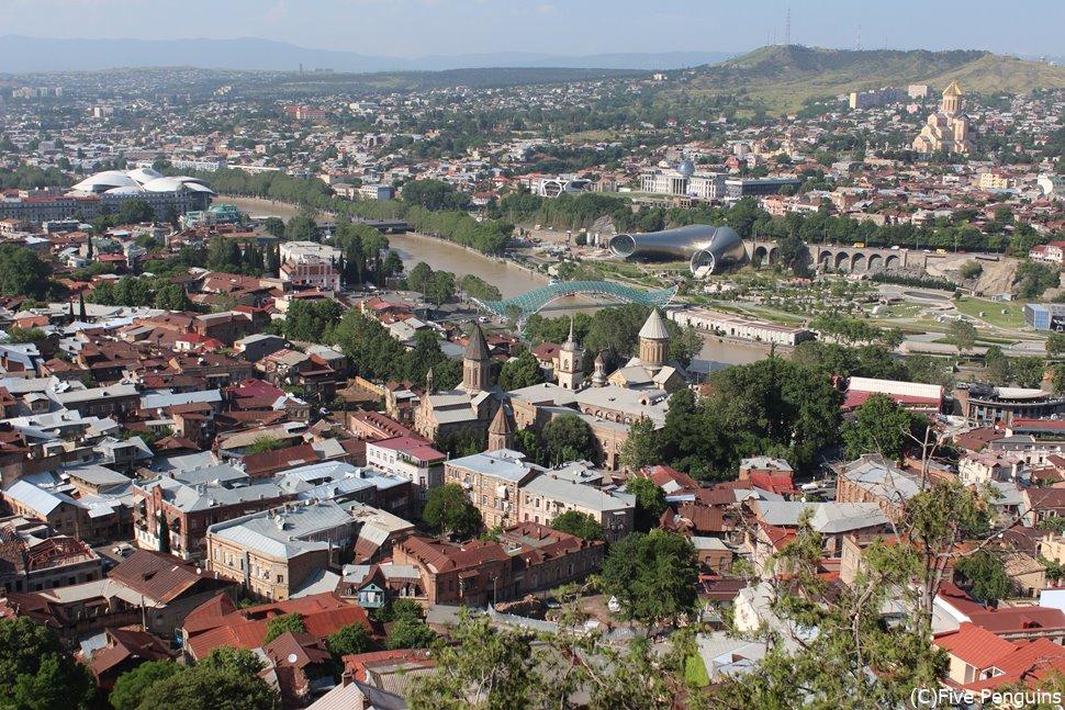 ナリカラ要塞からの眺望 旧市街と近代建築のコントラストが独特です
