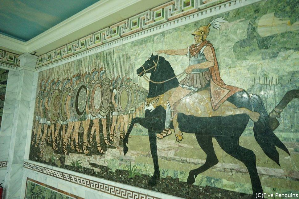ソグド歴史博物館 アレクサンドリア大王の生涯のモザイク画